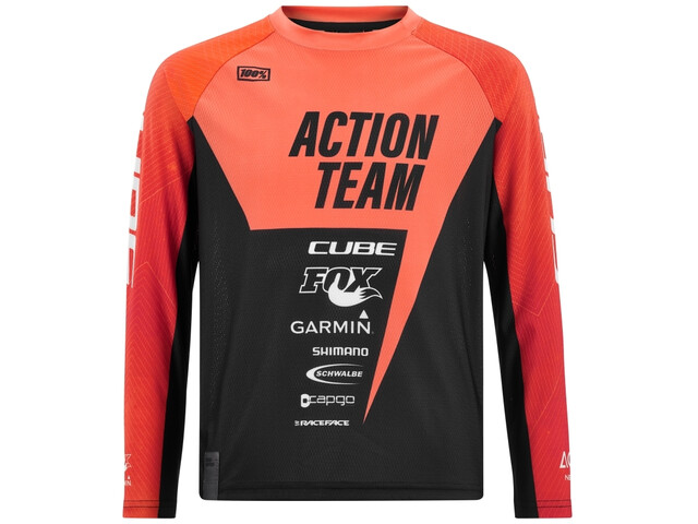 Cube Junior Longsleeve Jersey X Actionteam Kinderen, orange´n´black